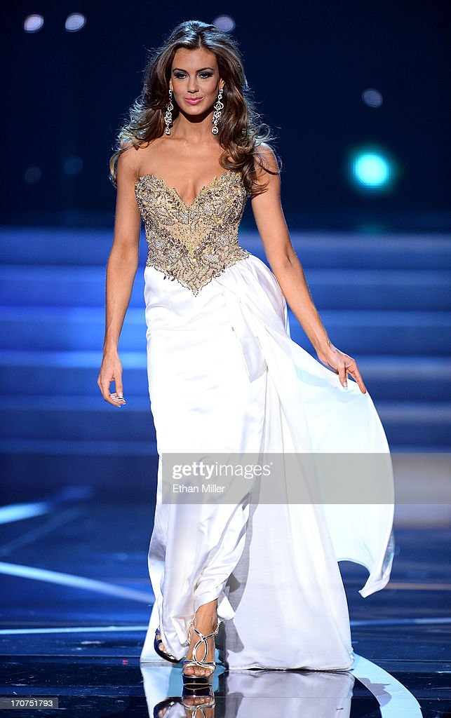 Miss Connecticut USA Erin Brady competes in the evening gown competition during the 2013 Miss USA pageant at PH Live at Planet Hollywood Resort & Casino on June 16, 2013 in Las Vegas, Nevada. Brady went on to be crowned the new Miss USA.