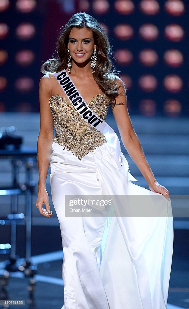 Miss Connecticut USA Erin Brady is introduced after the evening gown competition during the 2013 Miss USA pageant at PH Live at Planet Hollywood Resort & Casino on June 16, 2013 in Las Vegas, Nevada. Brady went on to be crowned the new Miss USA.