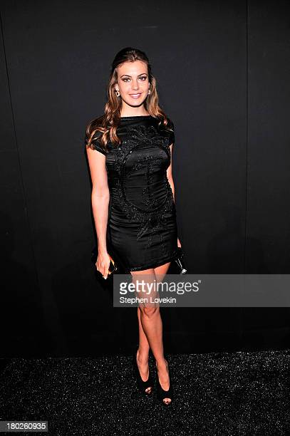 Miss Connecticut USA Erin Brady poses backstage at the Zang Toi fashion show during MercedesBenz Fashion Week Spring 2014 at The Stage at Lincoln...
