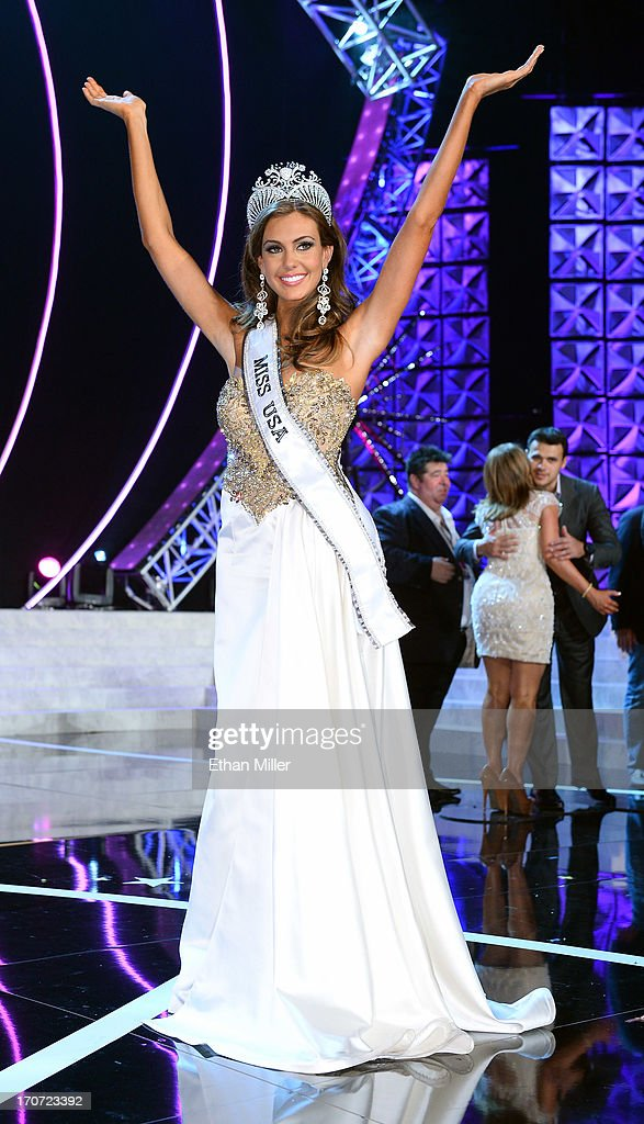 Miss Connecticut USA Erin Brady poses on stage after winning the 2013 Miss USA pageant at PH Live at Planet Hollywood Resort & Casino on June 16, 2013 in Las Vegas, Nevada.