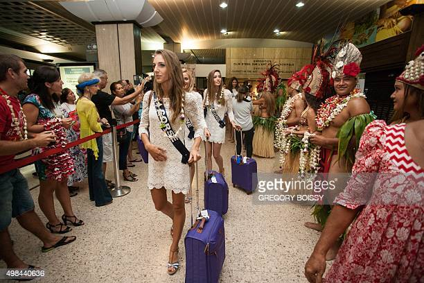Miss Corse 2015 Jessica Garcia and other candidates for the Miss France 2016 contest arrive in Papeete French Polynesia on November 22 for a week of...
