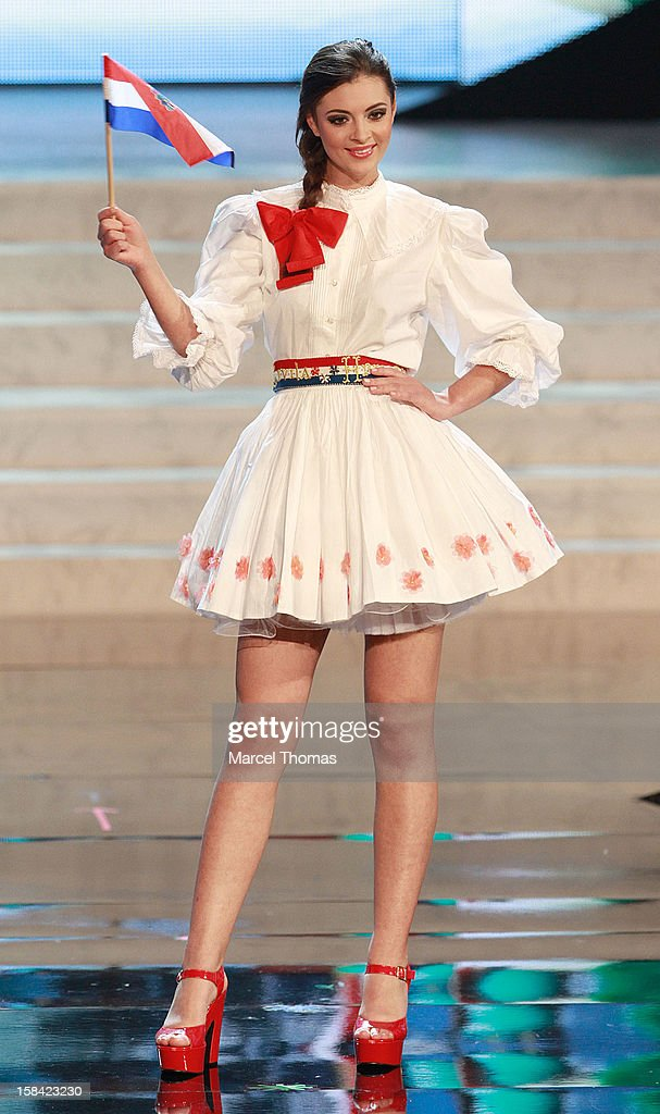 Miss Croatia Elizabeta Burg displays her national costume at the 2012 Miss Universe National Costume event at Planet Hollywood Casino Resort on December 14, 2012 in Las Vegas, Nevada.