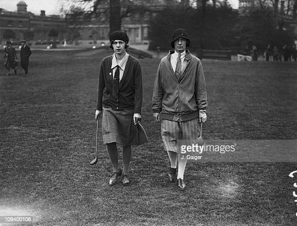 Miss D Pearson and Miss Lobbett at the Ladies' Golf Union spring meeting at Ranelagh Barnes south London 9th April 1930