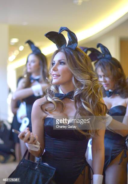 Miss December 2009 Crystal Hefner prepares for Playboy's 60th Anniversary special event on January 16 2014 in Los Angeles California