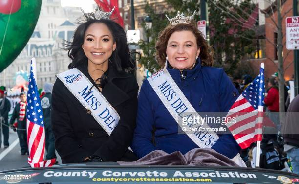 Miss Delaware Chelsea Bruce and Miss Delaware's Outstanding Teen Nicole Hannah attend the 98th Annual 6abc/Dunkin' Donuts Thanksgiving Day Parade on...