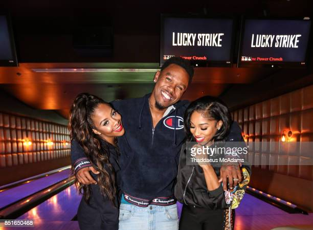 Miss Diddy Daniel Gibson and Brooke Valentine at Lucky Strike Bowling Alley on September 21 2017 in Hollywood California