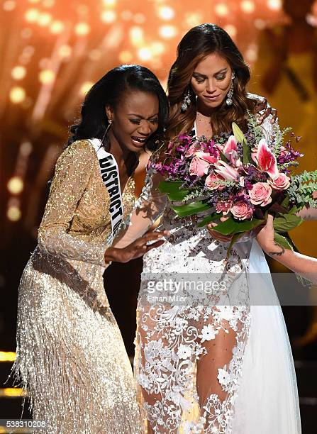 Miss District of Columbia USA 2016 Deshauna Barber and Miss Hawaii USA 2016 Chelsea Hardin react after Barber was named the new Miss USA during the...