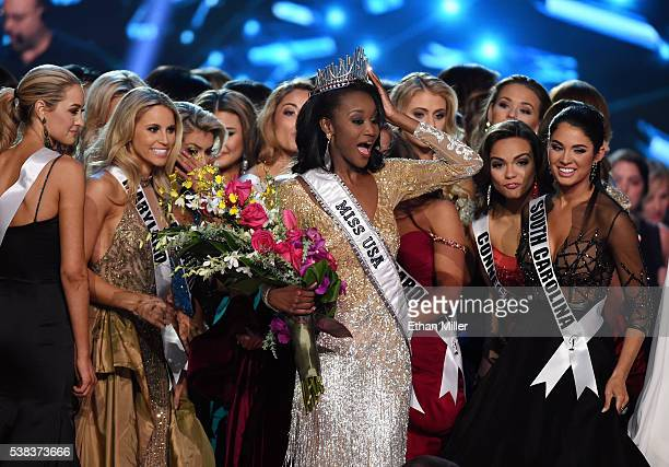 Miss District of Columbia USA 2016 Deshauna Barber is surrounded by fellow contestants after she was crowned the new Miss USA during the 2016 Miss...