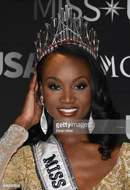 Miss District of Columbia USA 2016 Deshauna Barber poses for photos at a news conference after being crowned Miss USA at the 2016 Miss USA pageant at...