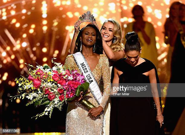 Miss District of Columbia USA 2016 Deshauna Barber reacts as she is crowned Miss USA 2016 by Miss USA 2015 Olivia Jordan and Miss Universe 2015 Pia...