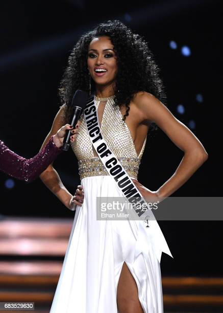Miss District of Columbia USA 2017 Kara McCullough answers a question during the interview portion of the 2017 Miss USA pageant at the Mandalay Bay...