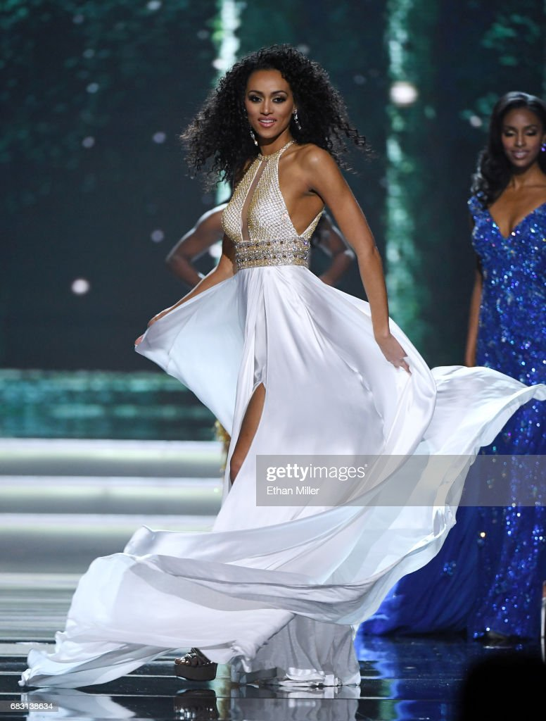 Miss District of Columbia USA 2017 Kara McCullough competes in the evening gown competition during the 2017 Miss USA pageant at the Mandalay Bay Events Center on May 14, 2017 in Las Vegas, Nevada. She went on to be named the new Miss USA.