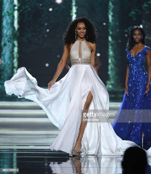 Miss District of Columbia USA 2017 Kara McCullough competes in the evening gown competition during the 2017 Miss USA pageant at the Mandalay Bay...