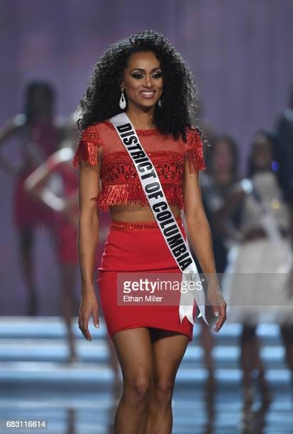 Miss District of Columbia USA 2017 Kara McCullough is named a top 10 finalist during the 2017 Miss USA pageant at the Mandalay Bay Events Center on...