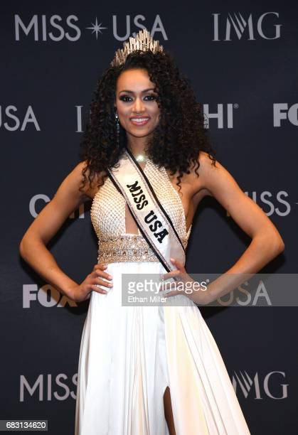 Miss District of Columbia USA 2017 Kara McCullough poses for photos at a news conference after being crowned Miss USA 2017 during the 2017 Miss USA...