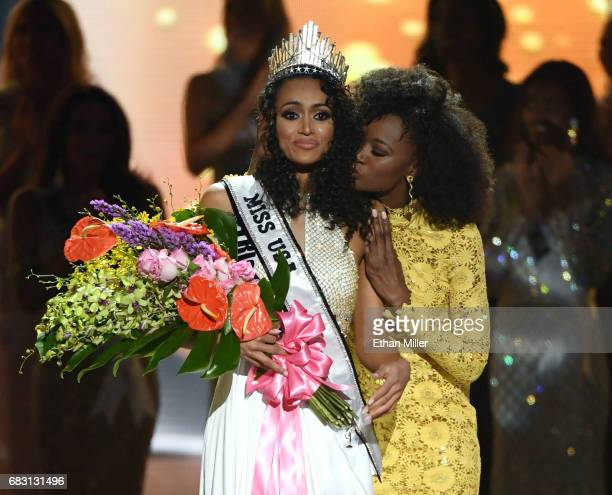 Miss District of Columbia USA 2017 Kara McCullough reacts as she is crowned Miss USA 2017 by Miss USA 2016 Deshauna Barber during the 2017 Miss USA...
