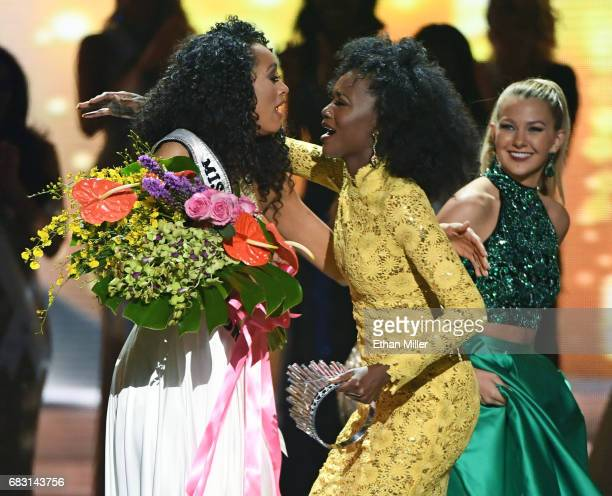 Miss District of Columbia USA 2017 Kara McCullough reacts as she is crowned Miss USA 2017 by Miss USA 2016 Deshauna Barber as Miss Teen USA 2016...