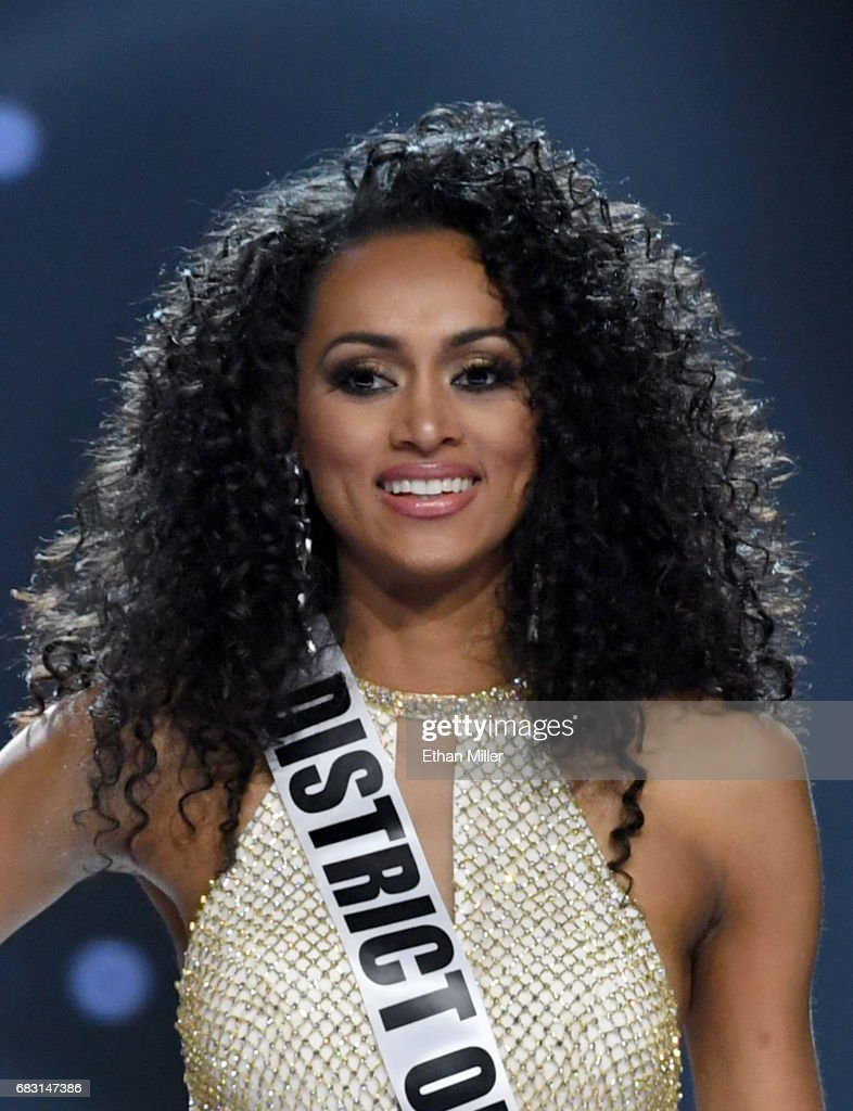 Miss District of Columbia USA 2017 Kara McCullough smiles after being named one of the top three finalists during the 2017 Miss USA pageant at the Mandalay Bay Events Center on May 14, 2017 in Las Vegas, Nevada. She went on to be named the new Miss USA.