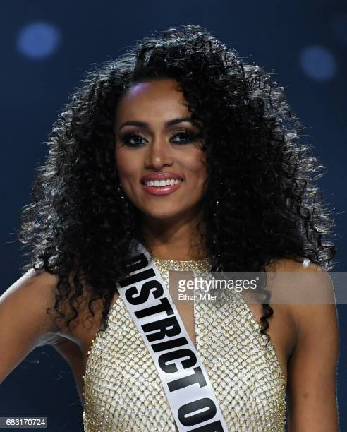 Miss District of Columbia USA 2017 Kara McCullough smiles after being named one of the top three finalists during the 2017 Miss USA pageant at the...
