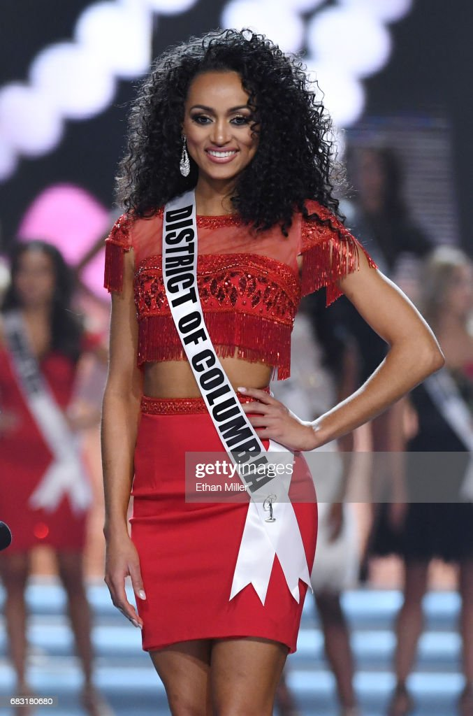 Miss District of Columbia USA 2017 Kara McCullough smiles after being named a top 10 finalist during the 2017 Miss USA pageant at the Mandalay Bay Events Center on May 14, 2017 in Las Vegas, Nevada. She went on to be named the new Miss USA.