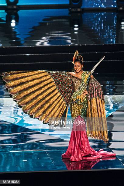 Miss Ecuador shows off her national costume at the Arena in Pasay City Candidates from different countries showed off their national costumes during...