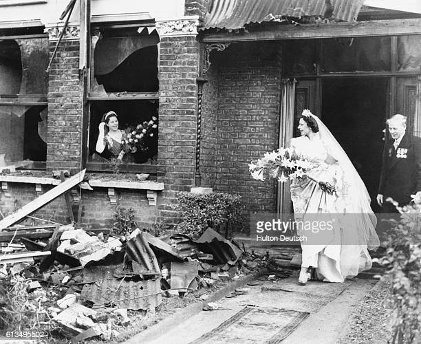 Miss Ena SquireBrown an international dancer famed for her Dove Dance leaves her recently bombed home for St George's Church in Forest Hill to marry...