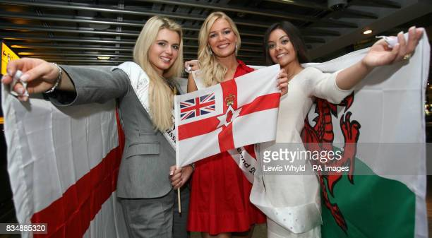 Miss England Laura Coleman Miss Northern Ireland Judith Wilson and Miss Wales ChloeBeth Morgan at Heathrow Airport where they were departing for the...