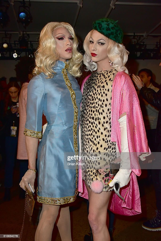 Miss Fame and <a gi-track='captionPersonalityLinkClicked' href=/galleries/search?phrase=Violet+Chachki&family=editorial&specificpeople=13939865 ng-click='$event.stopPropagation()'>Violet Chachki</a> attend the Pyer Moss Fall 2016 show during MADE Fashion Week at Milk Studios on February 13, 2016 in New York City.