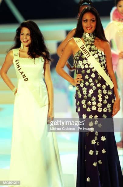 Miss Finland Salima Anita Peippo and Miss Tahiti Vanina Bea during the Miss World contest at The Millennium Dome in Greenwich