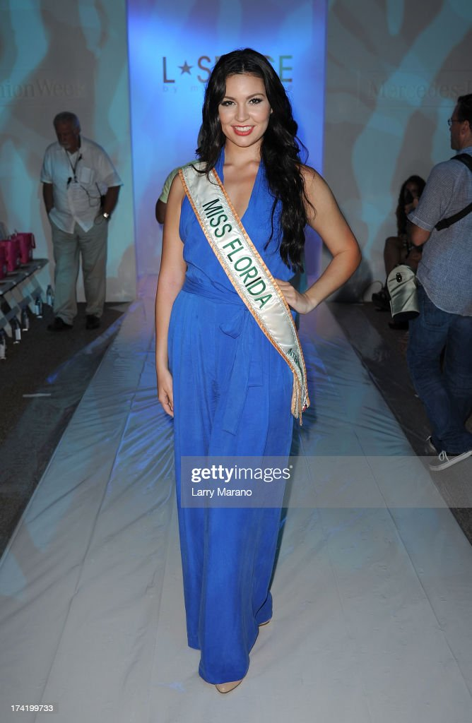 Miss Florida U.S. International 2012 Cassandra Mandeville attends the L*Space By Monica Wise show during Mercedes-Benz Fashion Week Swim 2014 at Cabana Grande at the Raleigh on July 21, 2013 in Miami, Florida.