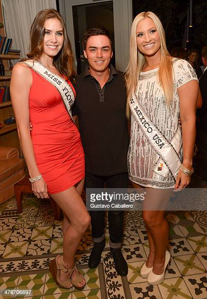 Miss Florida USA Brittany Oldehoff Pro golfer Rickie Fowler and Miss New Mexico USA Kamryn Blackwood attend The Opening Drive Party at Hyde Beach on...