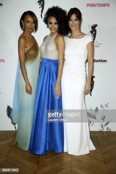 Miss France 2000 Sonia Rolland Miss France 2017 Alicia Aylies and Miss France 1999 Mareva Galanter attends 'Les Bonnes Fees' Charity Gala at Hotel...