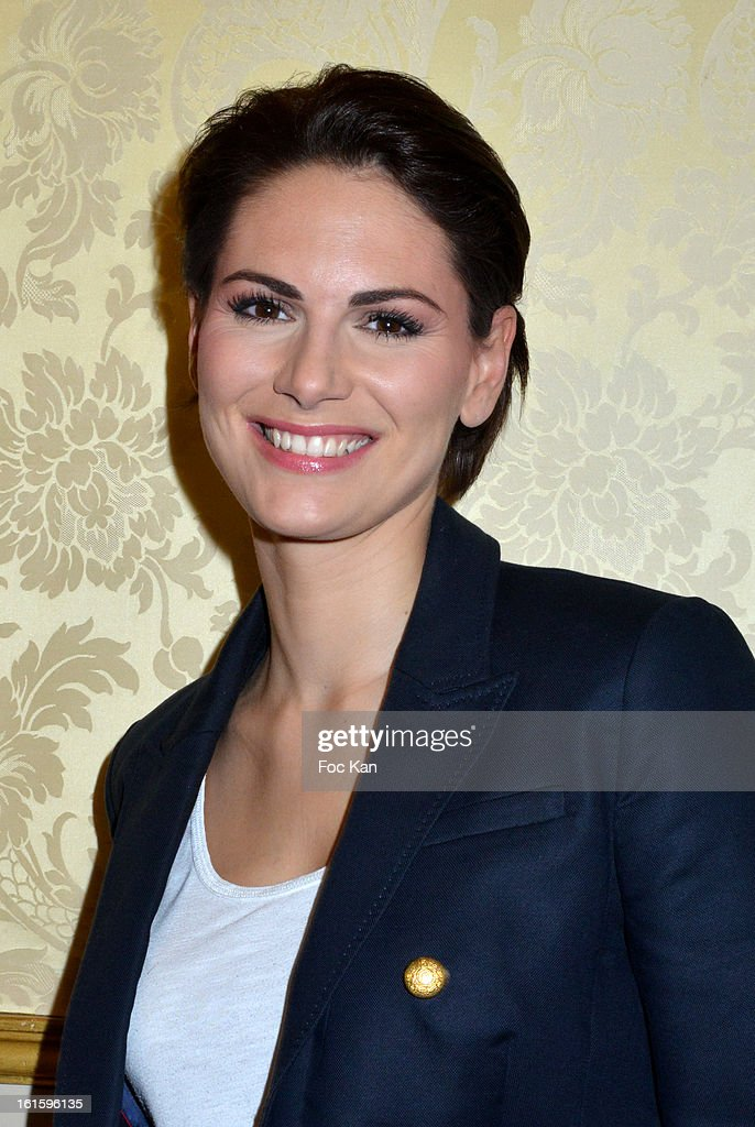 Miss France 2004 Laetitia Bleger attends the Rallye Aicha des Gazelles du Maroc' 2013 Press Conference at Palais du Luxembourg on February 12, 2013 in Paris, France.