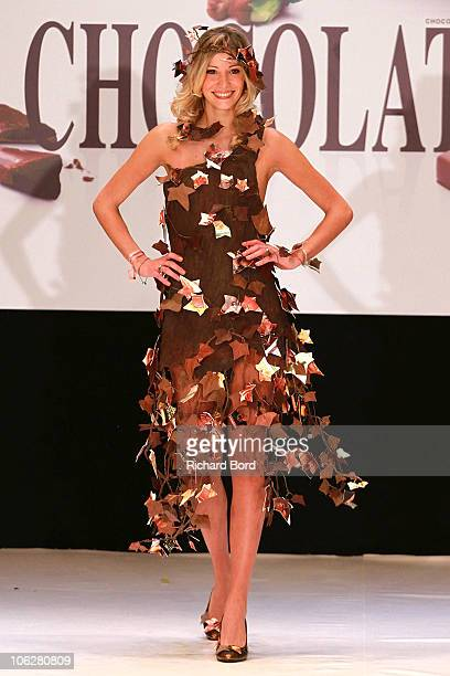 Miss France 2006 Alexandra Rosenfeld dressed by Lindt and Isabelle Teste walks the runway at the Salon Du Chocolat 2010 Opening Night at the Parc des...