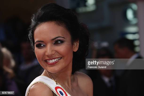 Miss France 2008 Valerie Begue poses as she arrives to attend the opening ceremony of the 34th US Film Festival with the screening of 'Mama Mia' by...