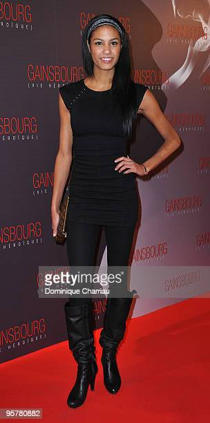 Miss France 2009 Chloe Mortaud attends the premiere of ''Gainsbourg'' at the Cinema Gaumont Opera on January 14 2010 in Paris France