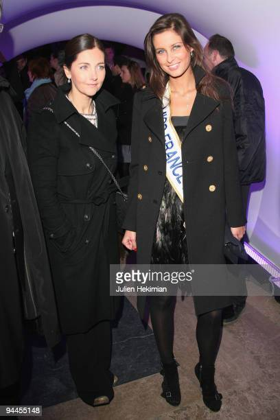 Miss France 2009 Malika Menard and Cristiana Reali attend the Toshiba 'Go to Space' party at Palais De Tokyo on December 14 2009 in Paris France