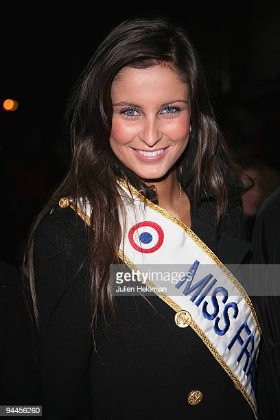 Miss France 2009 Malika Menard attends the Toshiba 'Go to Space' party at Palais De Tokyo on December 14 2009 in Paris France