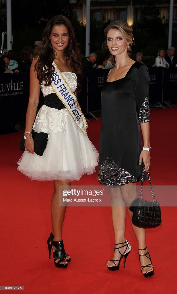 Miss France 2010, Malika Menard and Sylvie Tellier ,poses for the'Love and Other Impossible Pursuits' Premiere during the 36th Deauville American Film Festival on September 8, 2010 in Deauville, France.