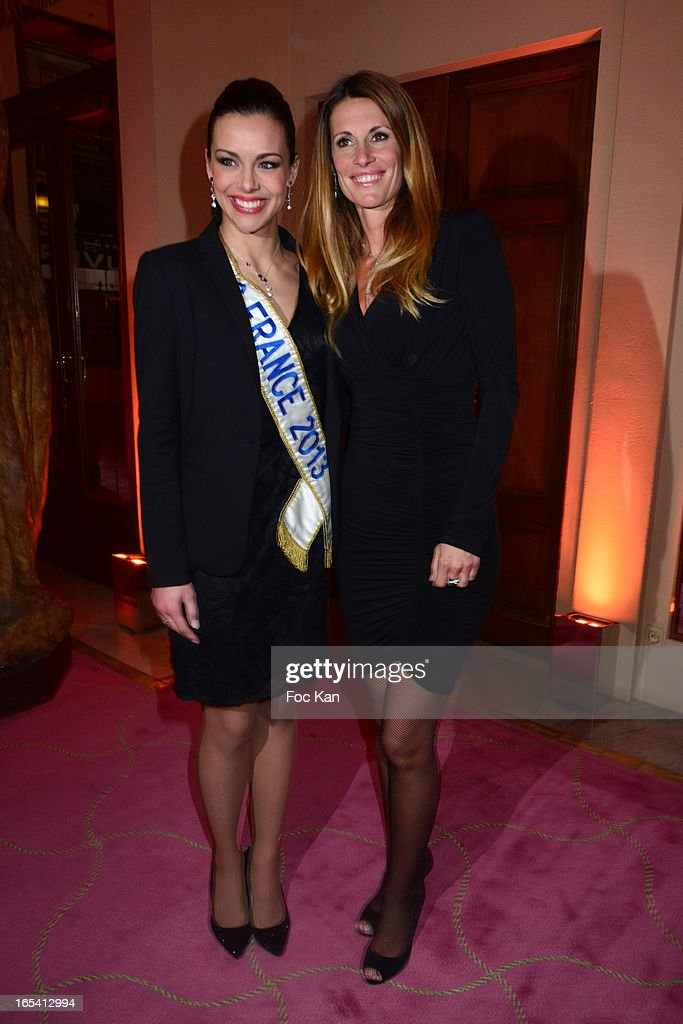 Miss France 2013 Marine Lorphelin and Miss France 1998 Sophie Thalmann attend the 'Cravaches D'Or' Awards 2013 At Theatre des Champs Elysees In Paris on April 3, 2013 in Paris, France.