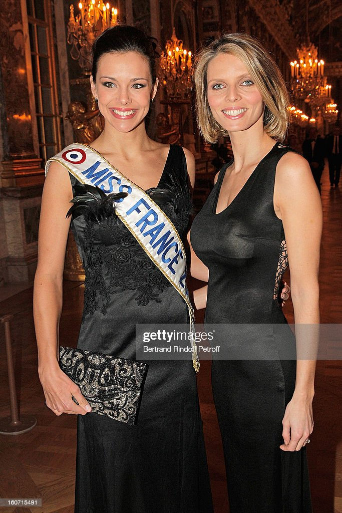 Miss France 2013, Marine Lorphelin (L), and Miss France 2002, Sylvie Tellier, Executive Director of the Miss France Committee and Miss Europe Organization, attend the gala dinner of Professor David Khayat's association 'AVEC', at Chateau de Versailles on February 4, 2013 in Versailles, France.