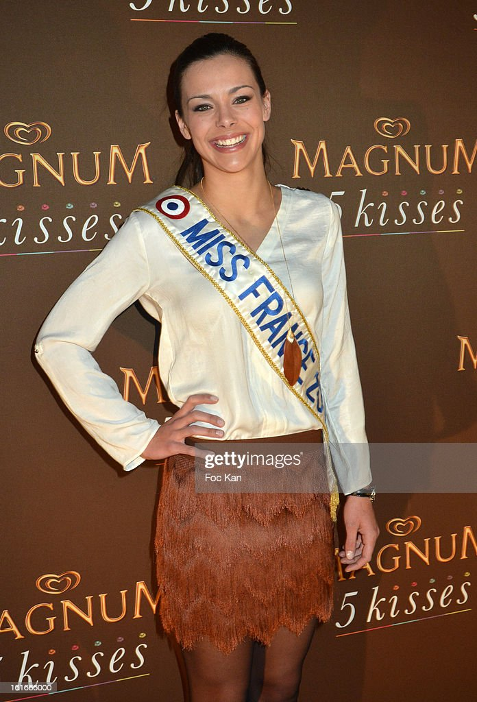 Miss france 2013 Marine Lorphelin attends 'Magnum Ice Creams' Party for Valentine's day at Pavillon Cambon Capucines on February 13, 2013 in Paris, France.