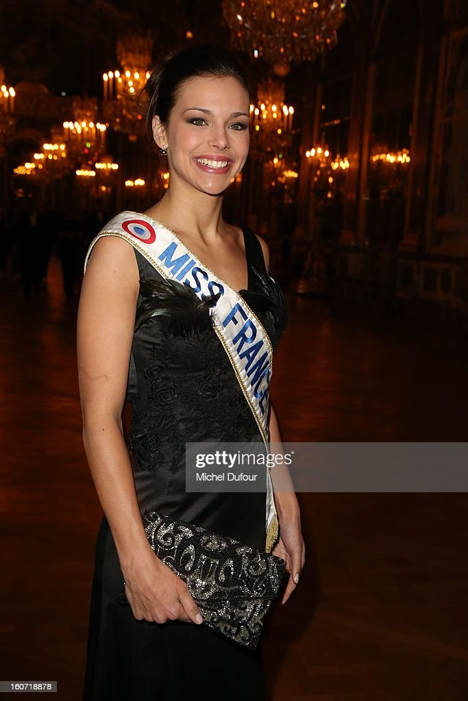 Miss France 2013 Marine Lorphelin attends the David Khayat Association 'AVEC' Gala Dinner at Chateau de Versailles on February 4, 2013 in Versailles, France.