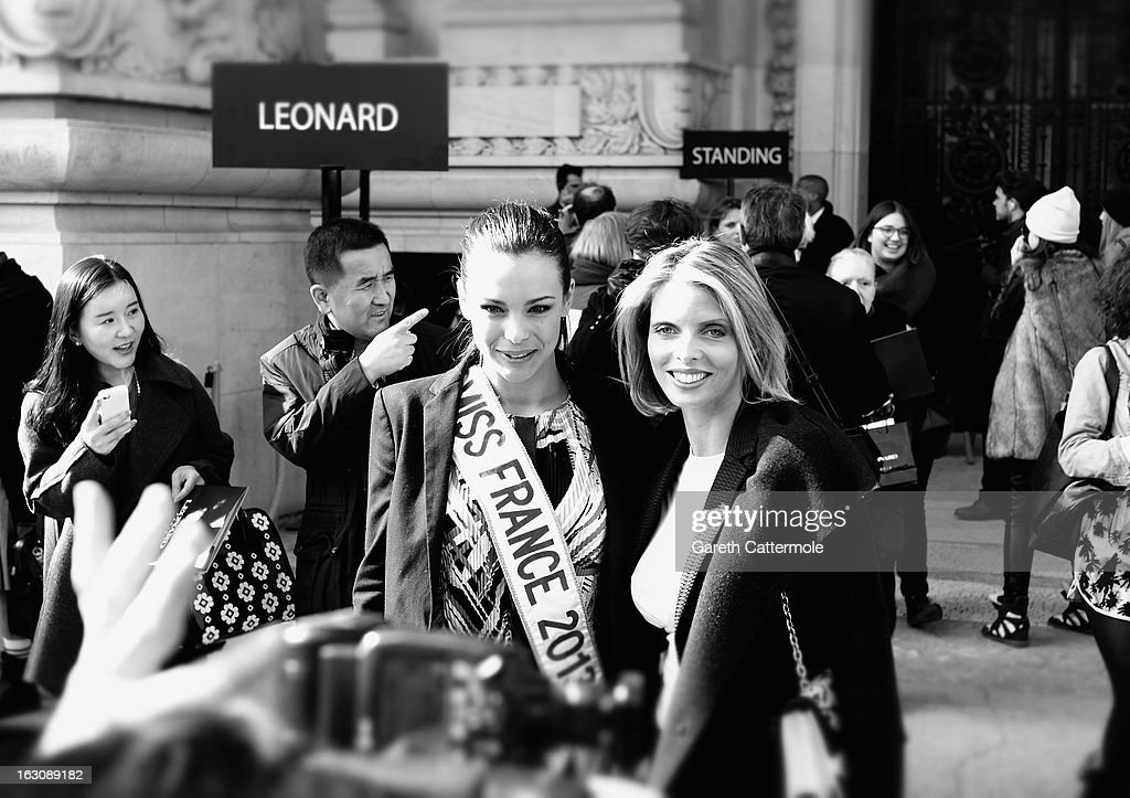Miss France 2013 <a gi-track='captionPersonalityLinkClicked' href=/galleries/search?phrase=Marine+Lorphelin&family=editorial&specificpeople=10062902 ng-click='$event.stopPropagation()'>Marine Lorphelin</a> (L) departs the Leonard Fall/Winter 2013 Ready-to-Wear show during Paris Fashion Week on March 4, 2013 in Paris, France.
