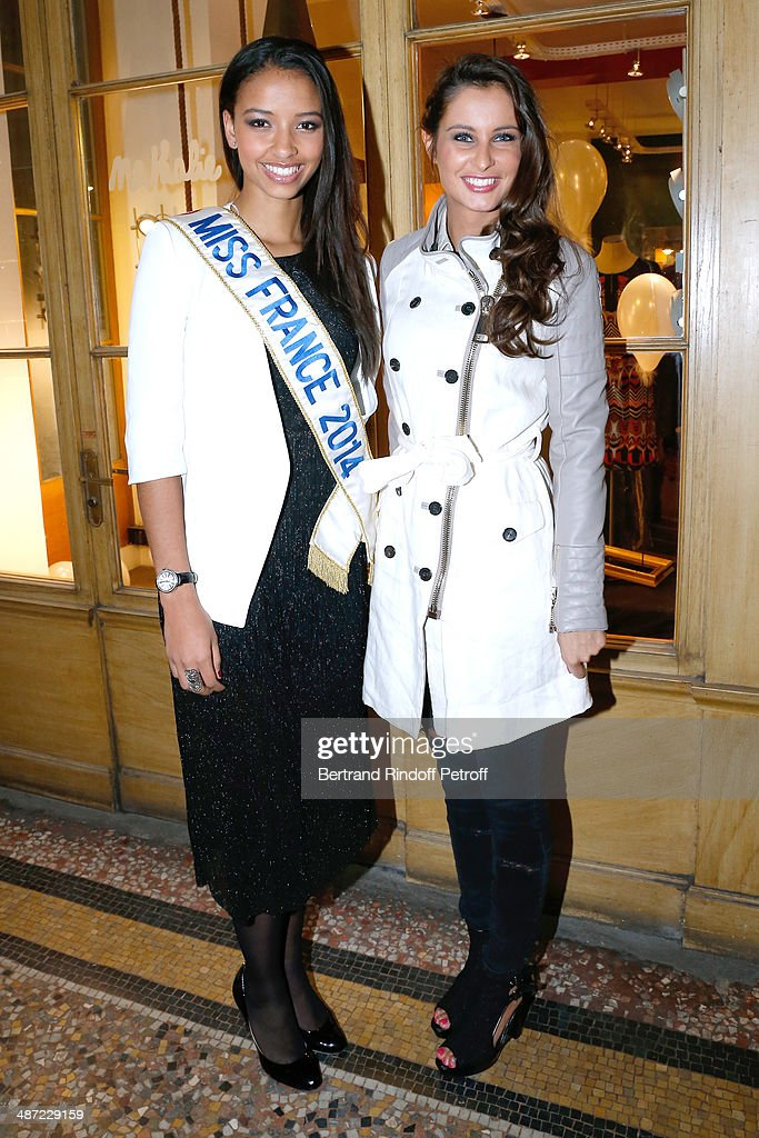 Miss France 2014 Flora Coquerel and Miss France 2010 Malika Menard attend the 'Charriol': Ephemeral Boutique opening hosted by Nathalie Garcon at Nathalie Garcon store, Galerie Vivienne on April 28, 2014 in Paris, France.