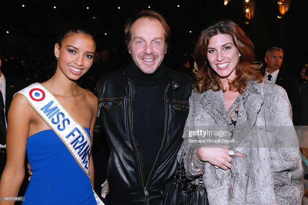 Miss France 2014 Flora Coquerel, Herve Taieb and Anne-Laure Vouillot from 'Comite Miss France' attend the 'Angelique' Paris movie premiere, after screening, at Cinema Gaumont Capucine on December 16, 2013 in Paris, France.