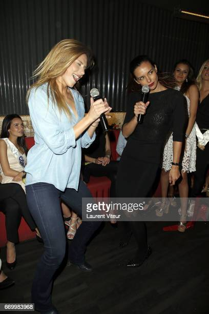Miss France 2015 Camille Cerf and Miss France 2013 Marine Lorphelin attend Miss France 2017 Alicia Aylies Surprise Birthday at BAM Karaoke Box on...