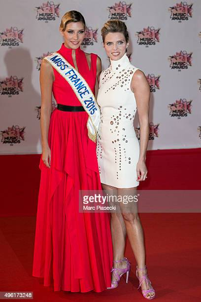Miss France 2015 Camille Cerf and Sylvie Tellier attend the 17th NRJ Music Awards ceremony at Palais des Festivals on November 7 2015 in Cannes France