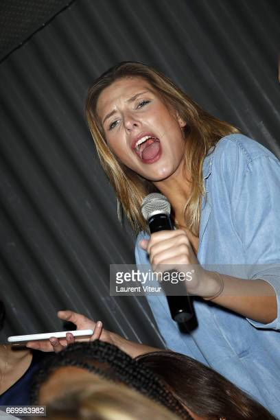 Miss France 2015 Camille Cerf attends Miss France 2017 Alicia Aylies Surprise Birthday at BAM Karaoke Box on April 18 2017 in Paris France