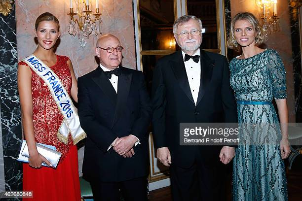 Miss France 2015 Camille Cerf Doctor Peter Harper Doctor Gabriel N Hortobagyi and CEO of Miss France Company Sylvie Tellier attend the David Khayat...